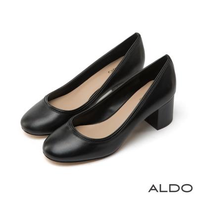 ALDO原色真皮雙層包邊圓頭復古粗跟鞋-尊爵黑色