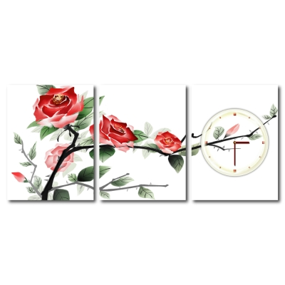 美學365 - 三聯式流行家飾無框藝術掛畫時鐘-高山中的玫瑰-30x40cm