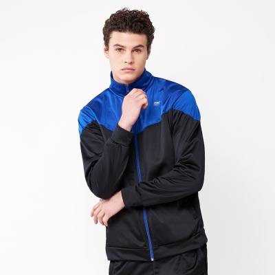 FIVE UP-時尚撞色休閒立領運動外套-黑藍