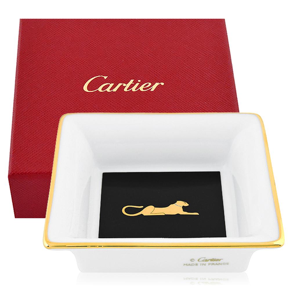 Cartier經典美洲豹圖樣方形迷你瓷盤