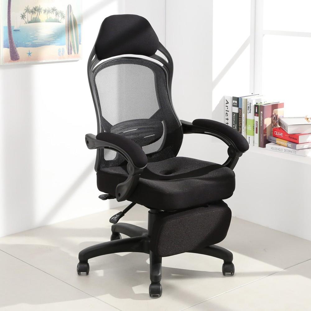 LOGIS邏爵-穩重黑費南佐坐臥兩用辦公椅 電腦椅 賽車椅 電競椅