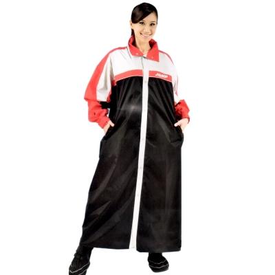 JUMP第二代俏麗輕柔前開風雨衣-黑/紅/銀+通用雨鞋套 -快