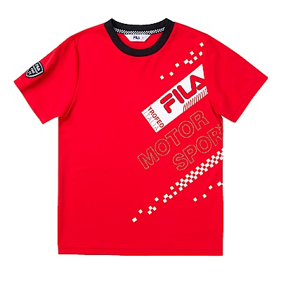 FILA KIDS 男童吸濕排汗上衣-紅 1TES-4438-RD