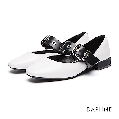 達芙妮DAPHNE 跟鞋-皮帶釦飾復古低跟鞋-白