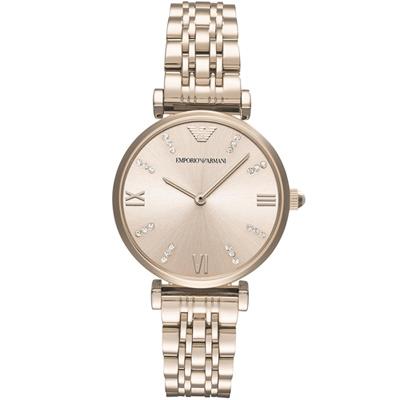 Emporio Armani亞曼尼晶鑽閃耀時尚女腕錶- 32 mm/玫瑰金色