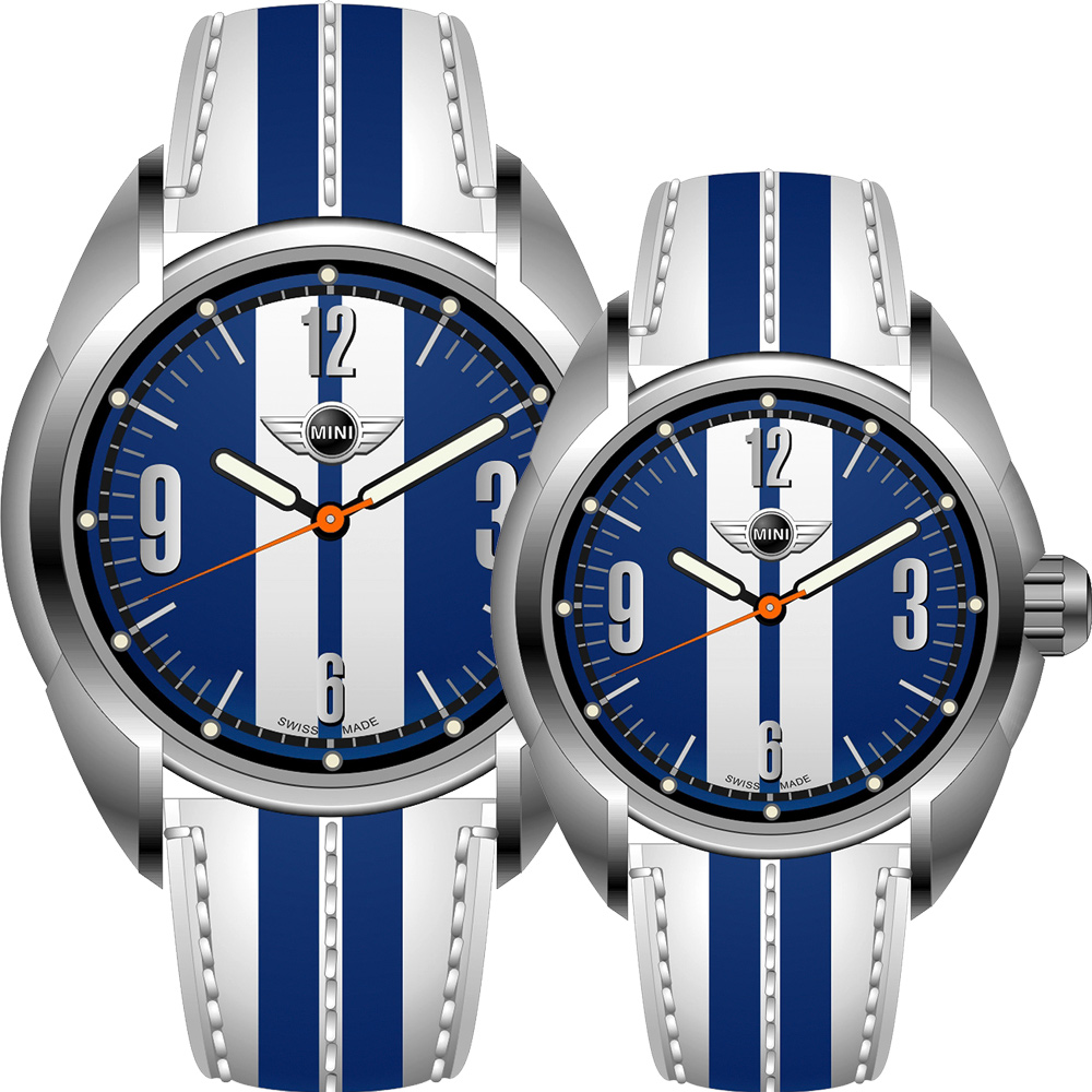 MINI Swiss Watches   休閒運動造型對錶-藍/45+38mm