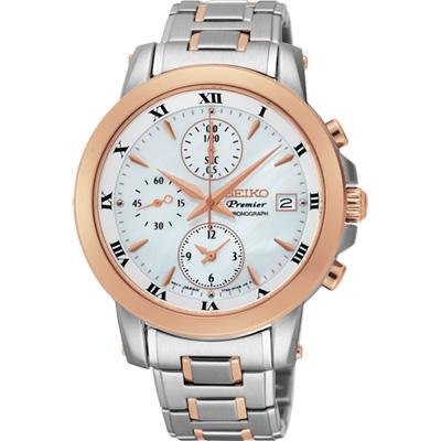 SEIKO Premier 羅馬優雅計時錶(SNDV68J1)-珍珠貝x雙色版/37mm