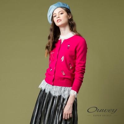 OUWEY歐薇 迷人桃紅刺繡針織外套(桃)