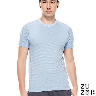 zuzai 自在舒涼快乾圓領條紋短袖上衣-男-淺藍色