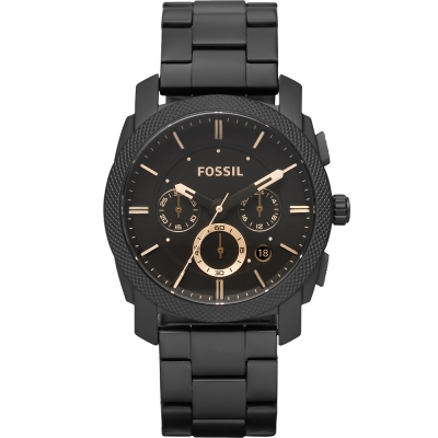FOSSIL王者風範三眼計時腕錶-黑/45mm