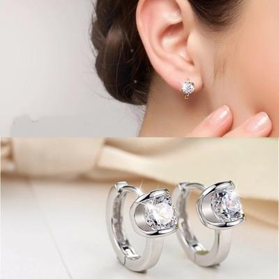 梨花HaNA 925銀天使之吻單顆美鑽圈飾耳環精裝