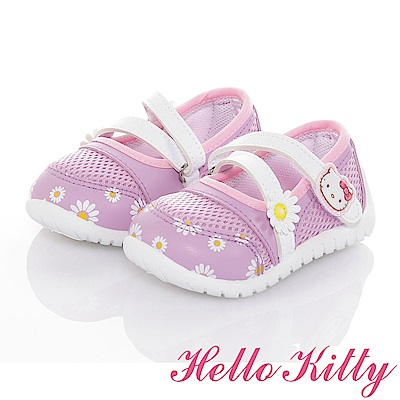 HelloKitty花朵系列 輕量透氣抗菌防臭休閒娃娃童鞋-紫