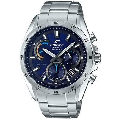 EDIFICE  三眼設計計時腕錶(EFB-510JD-2A)藍/44.3mm