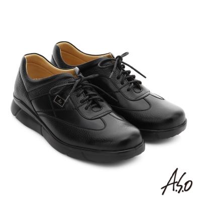 A.S.O 後切氣墊 牛皮綁帶奈米紳士皮鞋 黑色