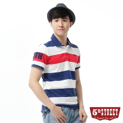5th STREET POLO衫 基本條紋配色POLO衫-男-紅藍條
