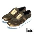 bac經典品味 異材質拼接真皮休閒鞋-綠金