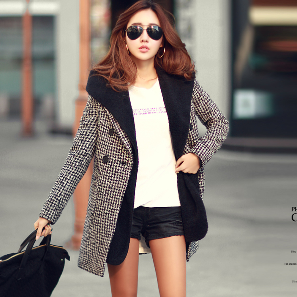 N.C21 經典格紋毛呢西裝式長大衣 (黑色)