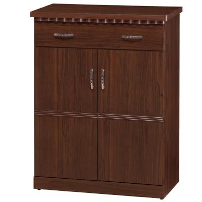 品家居 麗茲2.7尺胡桃色二門鞋櫃