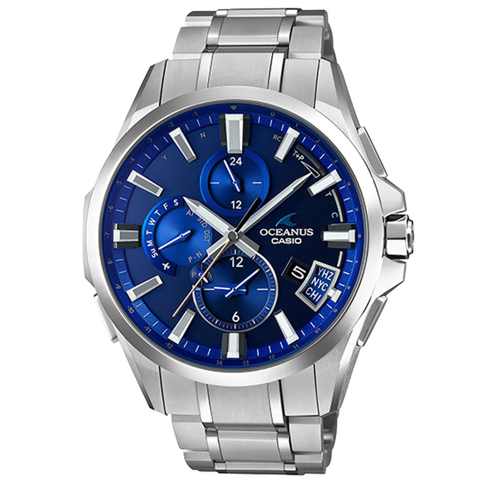 OCEANUS極致革新機能時尚鈦金屬GPS藍牙電波錶(OCW-G2000-2A)-淺藍 @ Y!購物