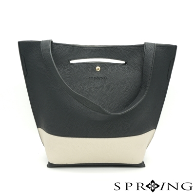 SPRING-簡約經典撞色拼接三用包-黑