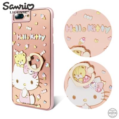 三麗鷗 Kitty iPhone8/7/6s Plus 鏡面指環扣水晶手機殼-童...