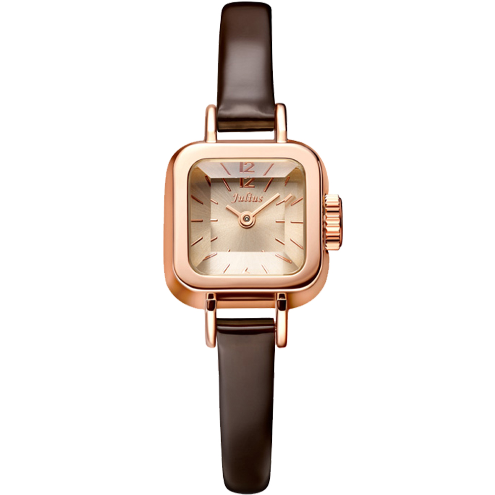 JULIUS聚利時 Choco小方糖立體切割鏡面皮帶腕錶-咖啡x玫瑰金/24x24mm