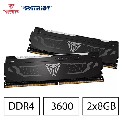 Patriot Viper DDR4 3600 16G(2x8G)桌上型電競記憶體 -白光