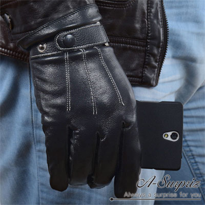 A-Surpriz-男仕扣環真羊皮觸控手套-黑