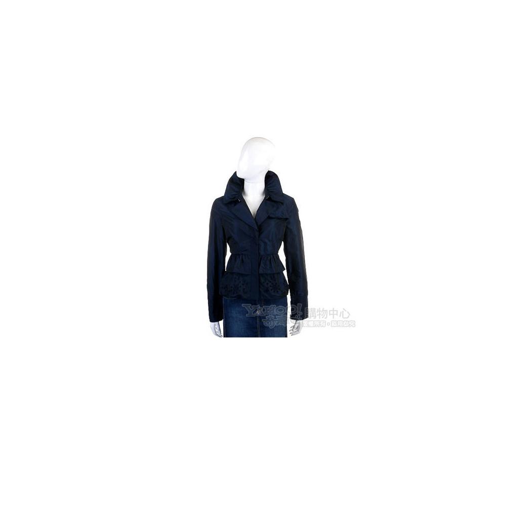 SCERVINO 深藍色雙荷葉設計風衣外套