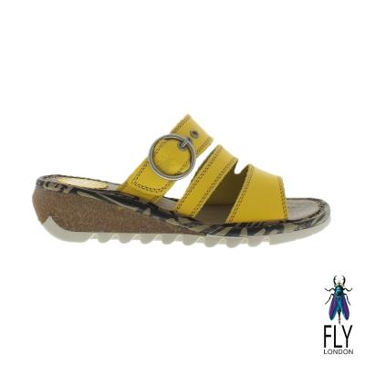 Fly London(女) 三線圓扣低坡跟真皮休閒拖鞋 - 檬檸黃