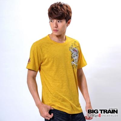BIG TRAIN 鬼頭鐮刀武士印花TEE-男-黃