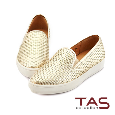 TAS 真皮編織樂福懶人鞋-時尚金