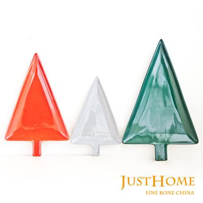 品 Just Home聖誕樹 陶瓷餐盤3件組 3種尺寸