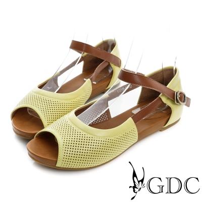 GDC-清新可愛沖孔真皮平底一字涼鞋-黃色