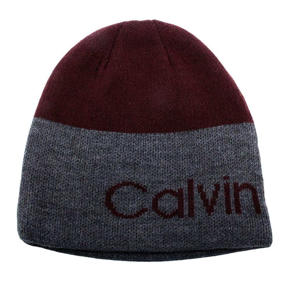Calvin Klein CK 撞色橫條LOGO雙面兩用針織毛帽-紅灰
