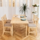 CiS自然行-雙邊延伸實木餐桌椅組一桌四椅 74*166公分/原木+淺灰椅墊