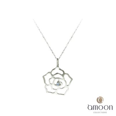 amoon 戀戀東京系列 薔薇 10K金鑽石項鍊-白K金