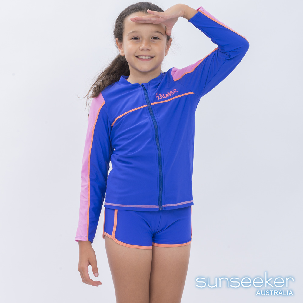 澳洲Sunseeker泳裝抗UV防曬運動外套泳衣-大女童粉色