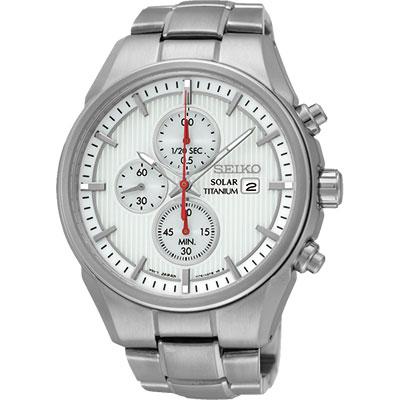 SEIKO CS系列太陽能鈦金屬計時碼錶(SSC363P1)-白/41mm