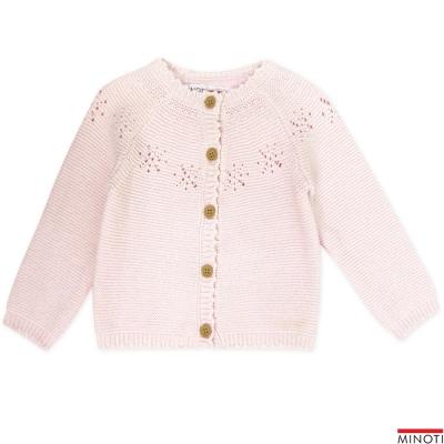 Minoti 英國 粉紅鏤空雪花針織外套