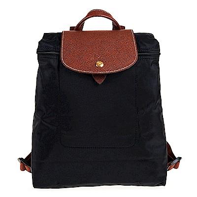 Longchamp Le Piage拉鍊尼龍後背包 (黑色)