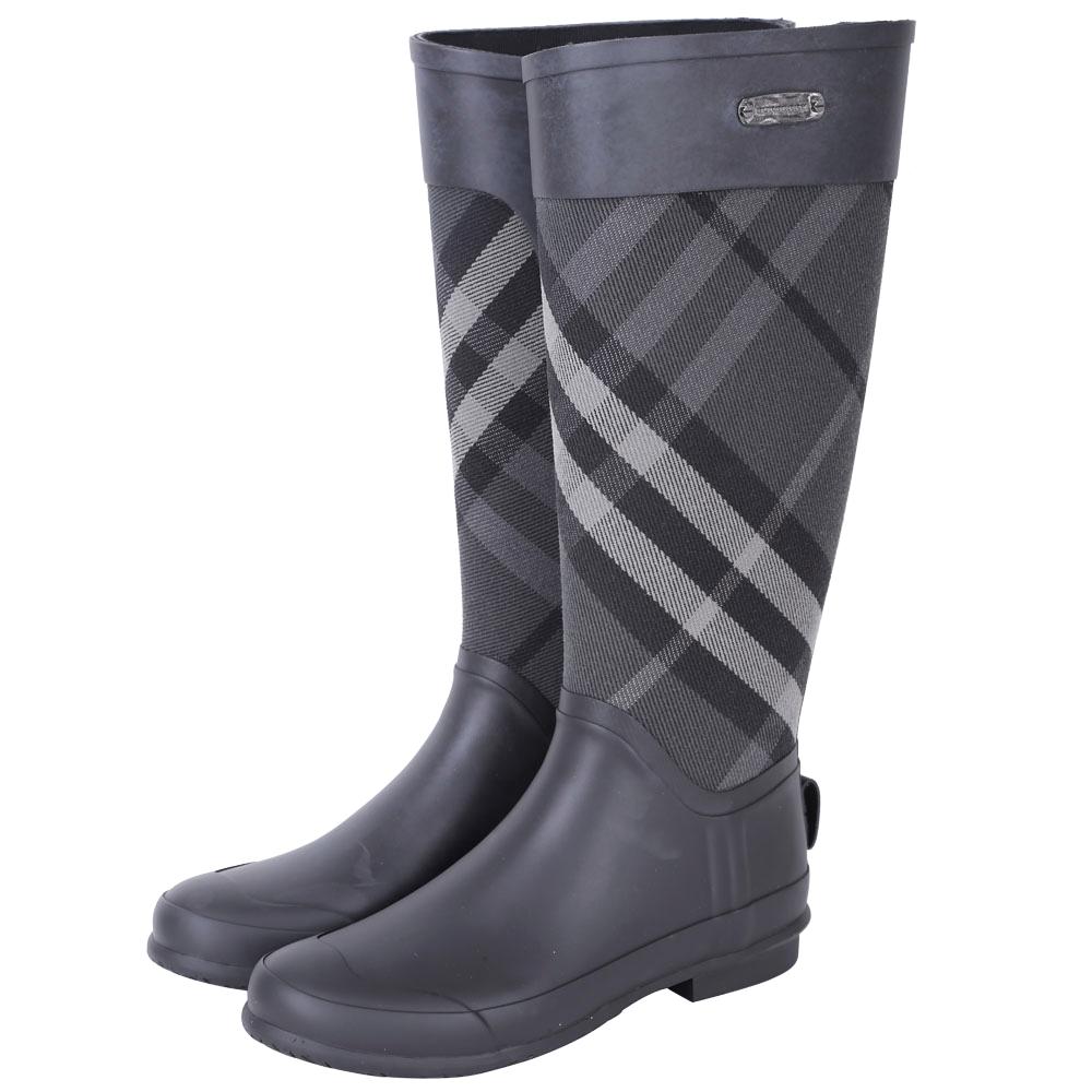 BUEBERRY 格紋拼接橡膠長筒防水雨靴(灰黑色) @ Y!購物