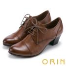 ORIN 英倫街頭時尚 尖頭牛皮綁帶牛津中跟鞋-棕色