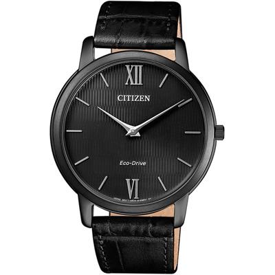 CITIZEN 星辰 低斂風尚光動能超薄手錶(AR1135-10E/BIP)-黑/39mm