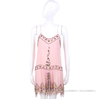 BLUMARINE 粉色串珠綴飾細肩帶洋裝