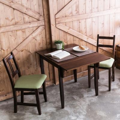 CiS自然行-單邊延伸實木餐桌椅組一桌二椅 74*98公分焦糖+抹茶綠椅墊