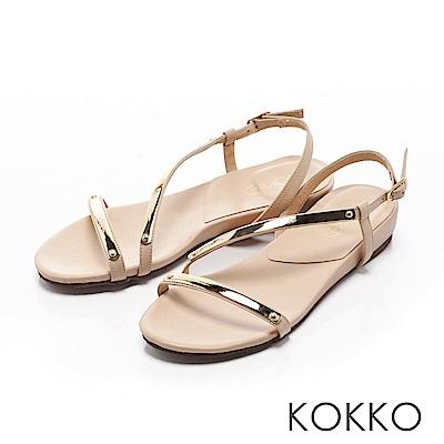 KOKKO~柔美曲線金屬光真皮平底涼鞋~清純米