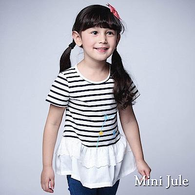 Mini Jule 童裝-上衣 線條熊條紋拼接短袖T恤(寶藍)