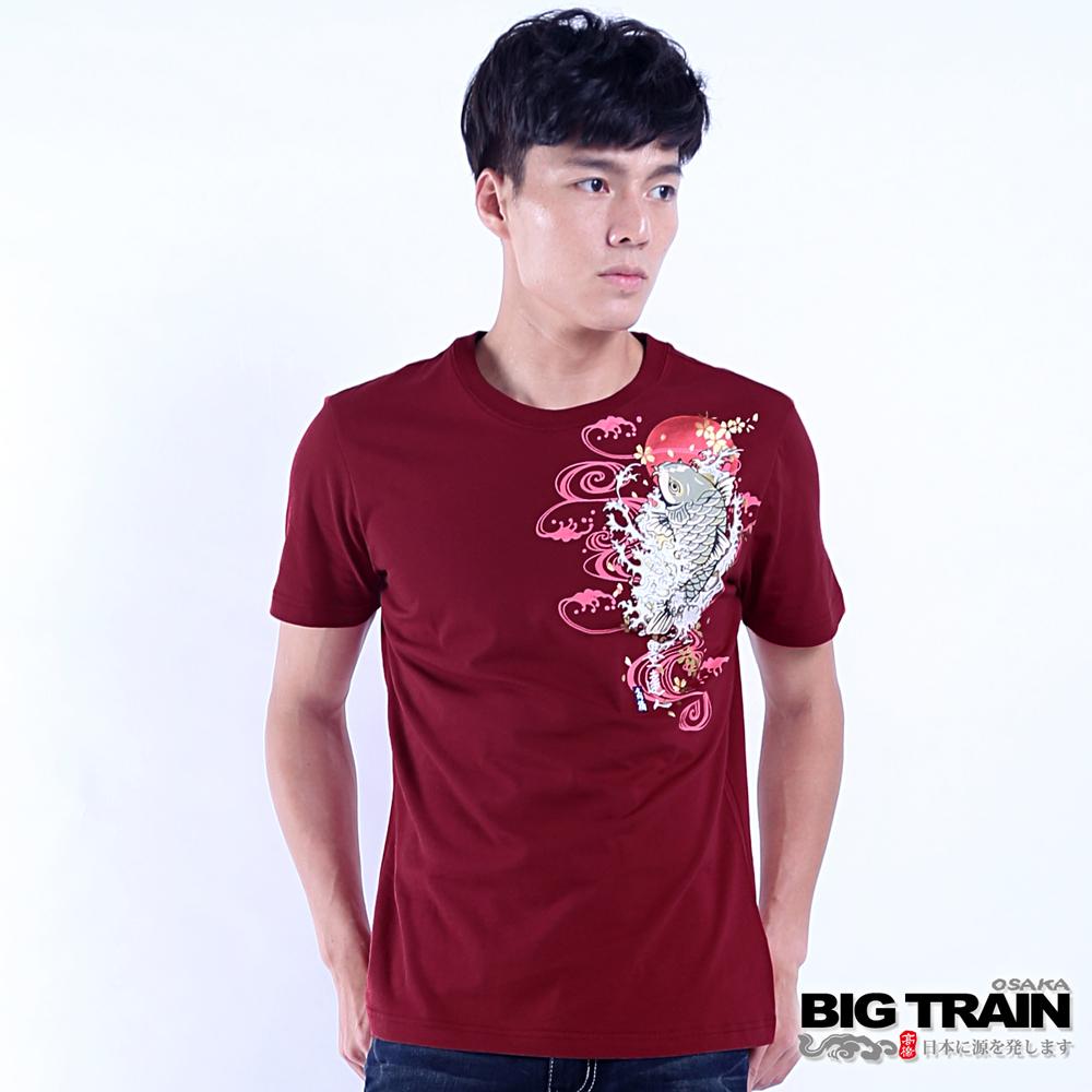BIG TRAIN 浪濤鯉魚短袖T-男-紅色