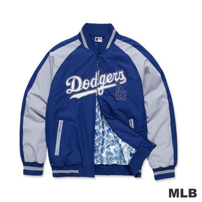 MLB-洛杉磯道奇隊撞色造型運動合身棒球外套-藍色男